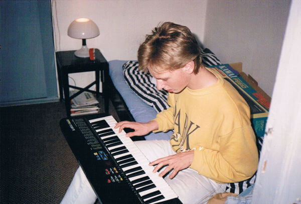 Drax playing around with a cheap keyboard at my place. Probably 1990, give or take a year.